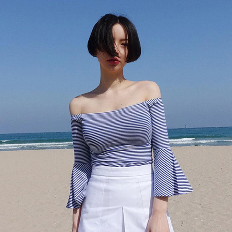 蓝白条纹t恤 一字领露肩上衣夏韩国喇叭袖T恤海军风蓝白条纹修身纯棉打底衫女_推荐淘宝好看的女蓝白条纹t恤
