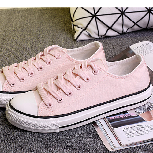粉红色平底鞋 平底女低帮淡淡粉帆布鞋韩版经典纯色浅粉红色板鞋学生潮鞋帆布鞋_推荐淘宝好看的粉红色平底鞋