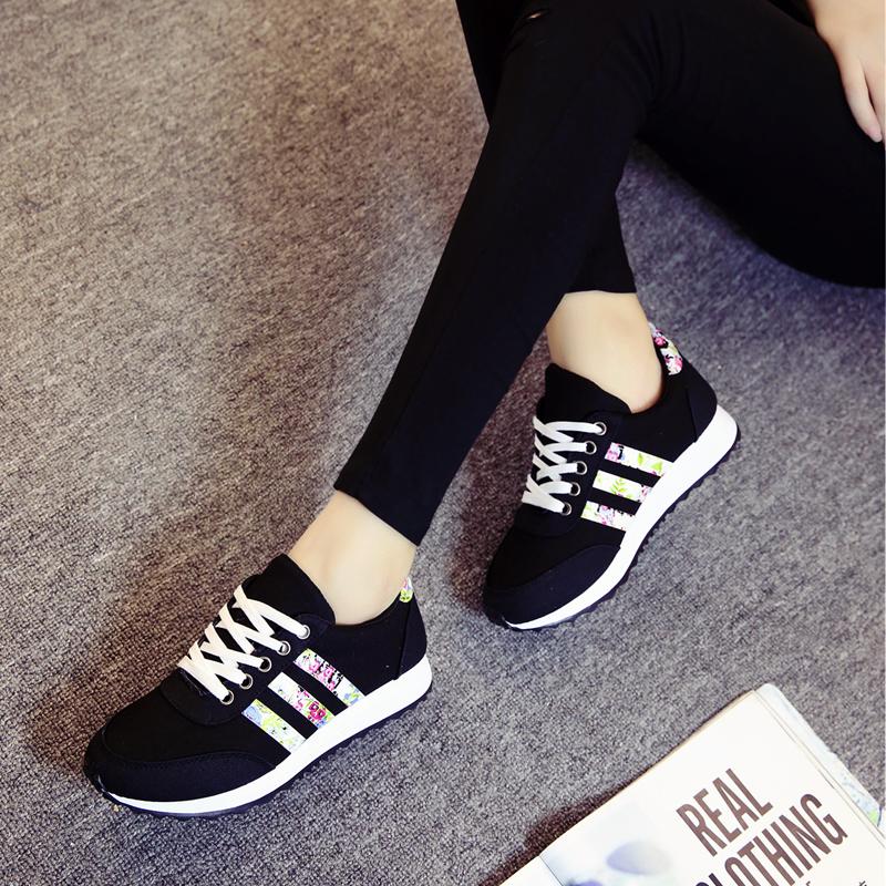 帆布鞋 帆布鞋运动鞋女2017春秋新款学生女鞋韩版平底跑步休闲鞋板鞋单鞋_推荐淘宝好看的女帆布鞋