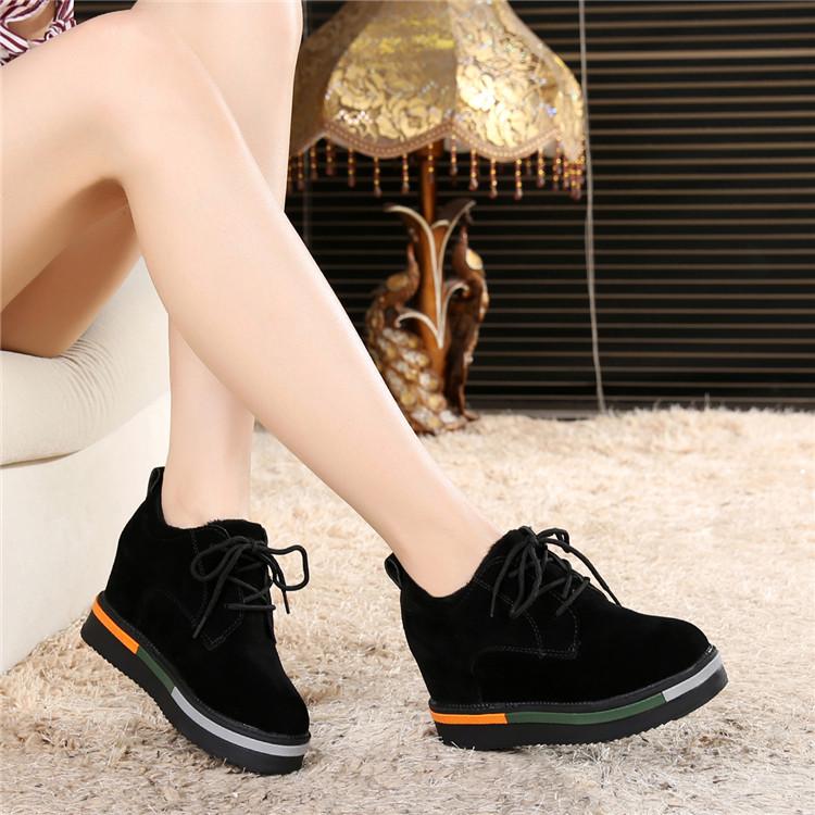 黑色坡跟鞋 秋冬季2017新款休闲鞋磨砂内增高女鞋8cm坡跟黑色加绒松糕鞋棉鞋_推荐淘宝好看的黑色坡跟鞋