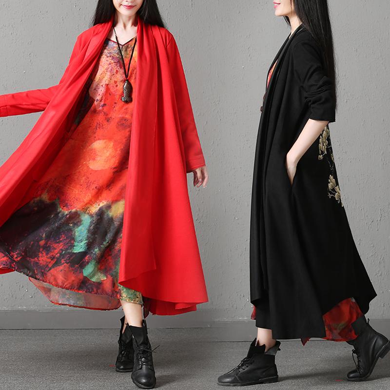 红色风衣 民族风女士风衣秋冬装大码中长款开衫斗篷复古刺绣羊绒毛呢外套薄_推荐淘宝好看的红色风衣