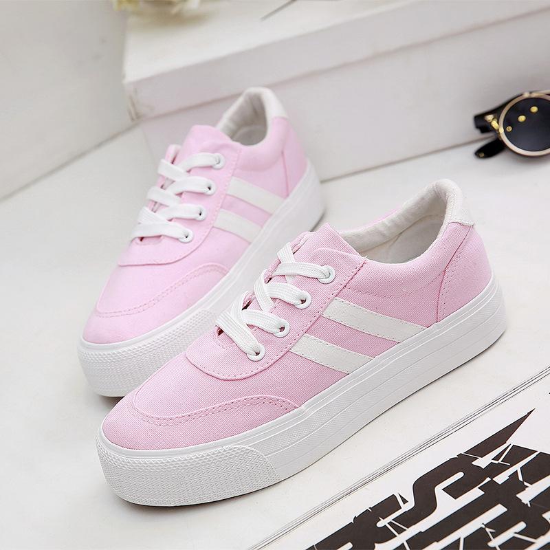 紫色帆布鞋 粉色布鞋女生厚底小粉鞋少女球鞋中学生薄荷绿帆布鞋女鞋紫色板鞋_推荐淘宝好看的紫色帆布鞋