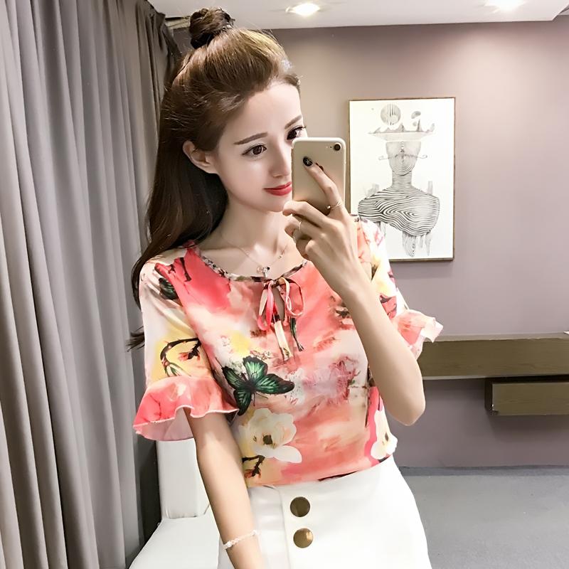 红色雪纺衫 2017春夏装新款韩范甜美短袖雪纺衬衫女装花色时尚大码上衣_推荐淘宝好看的红色雪纺衫