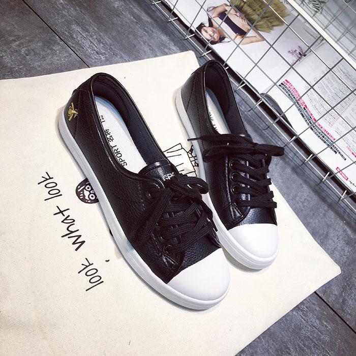 白色单鞋 夏季浅口单鞋女皮面小白鞋韩版休闲鞋护士鞋黑白色板鞋学生平底鞋_推荐淘宝好看的白色单鞋