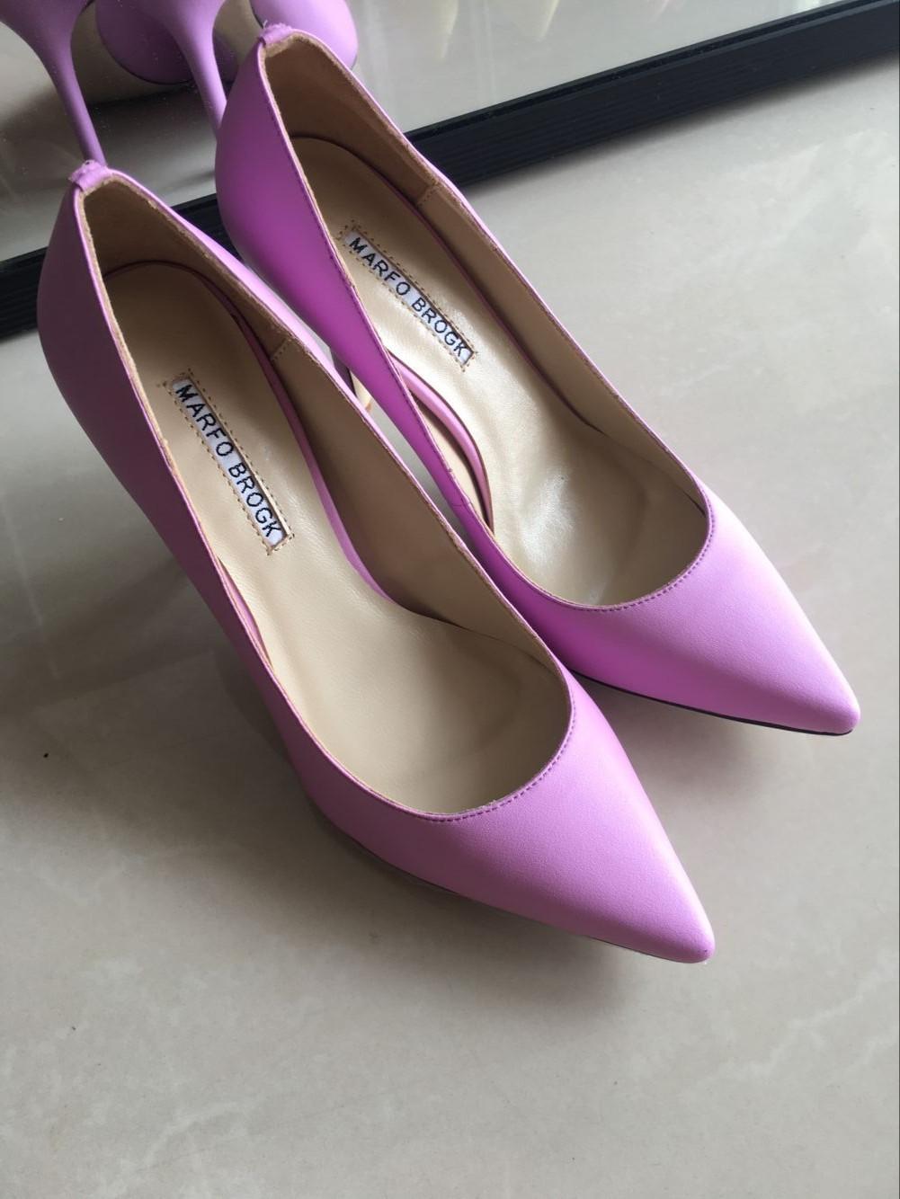 粉红色高跟鞋 欧美2017MB羊皮高跟鞋女同款真皮尖头细跟婚鞋伴娘鞋紫粉红色单鞋_推荐淘宝好看的粉红色高跟鞋