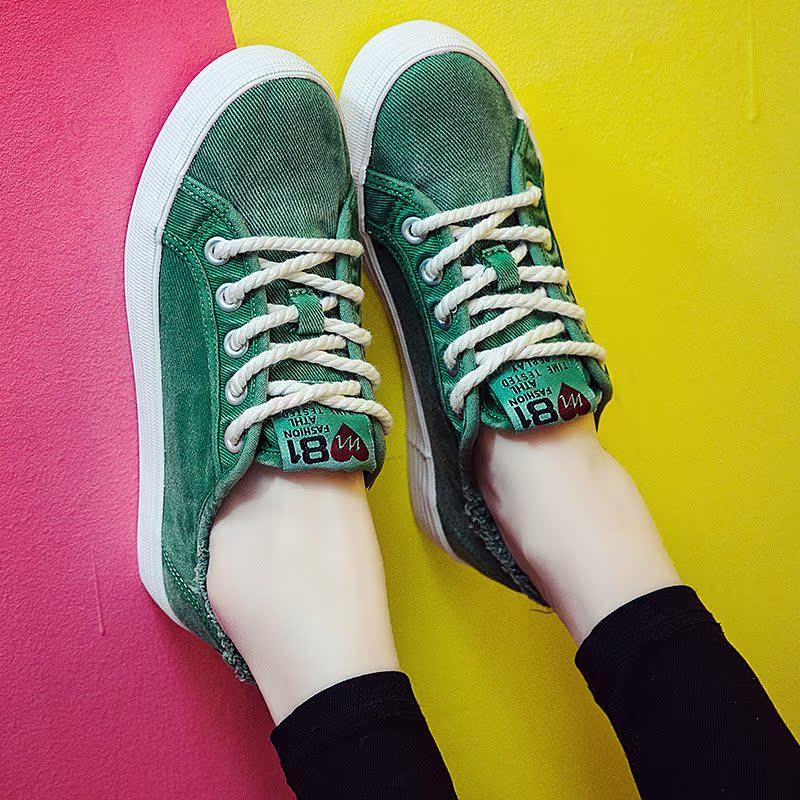 绿色帆布鞋 绿色街拍帆布鞋女学生韩版原宿ulzzang鞋子女孩学院风平底休闲鞋_推荐淘宝好看的绿色帆布鞋