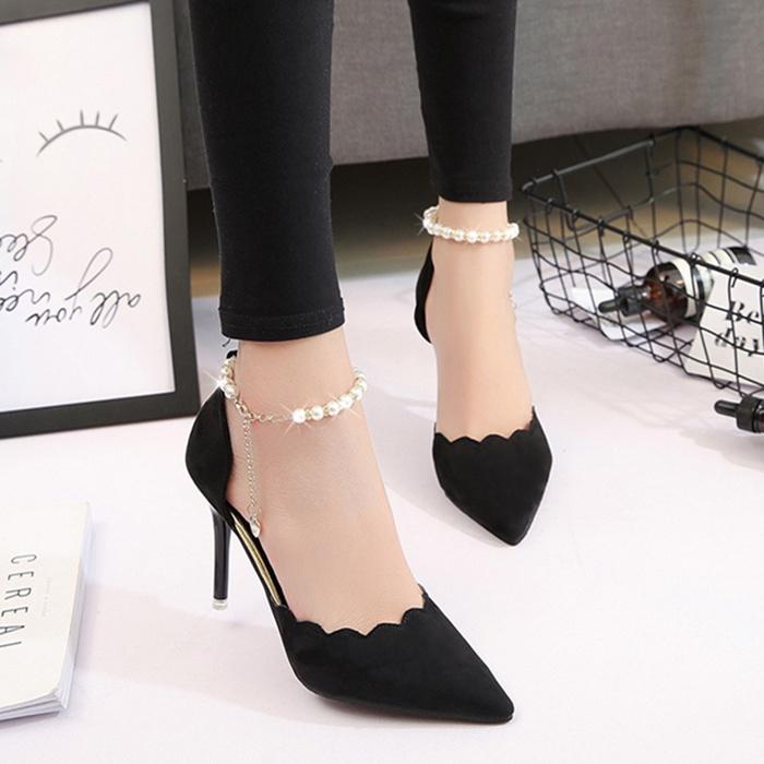 黑色高跟鞋 高跟鞋女尖头黑色性感一字扣细跟单鞋2017春秋季新款红色婚鞋女鞋_推荐淘宝好看的黑色高跟鞋