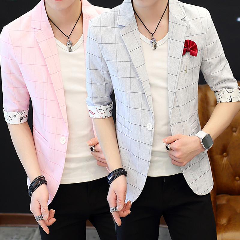 粉红色小西装 夏季男士薄款中袖西装韩版修身青年休闲格子小西服男帅气短袖外套_推荐淘宝好看的粉红色小西装