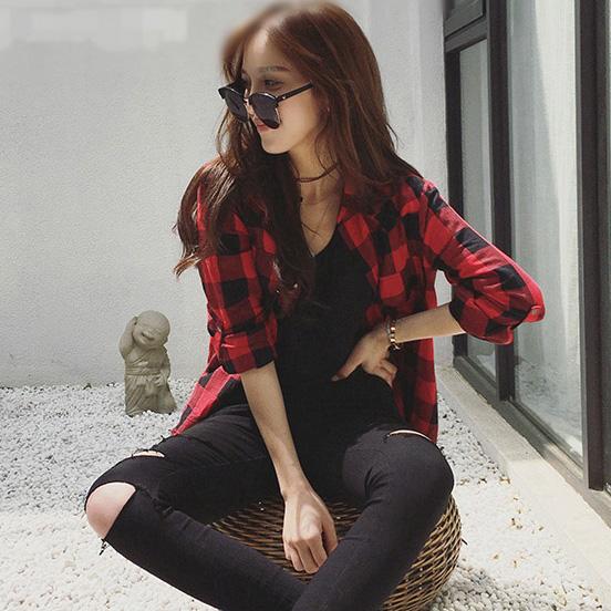 休闲长袖衬衫 欧美长袖衬衣韩版中长款红黑格子衬衫女款宽松显瘦休闲春季薄外套_推荐淘宝好看的女休闲长袖衬衫