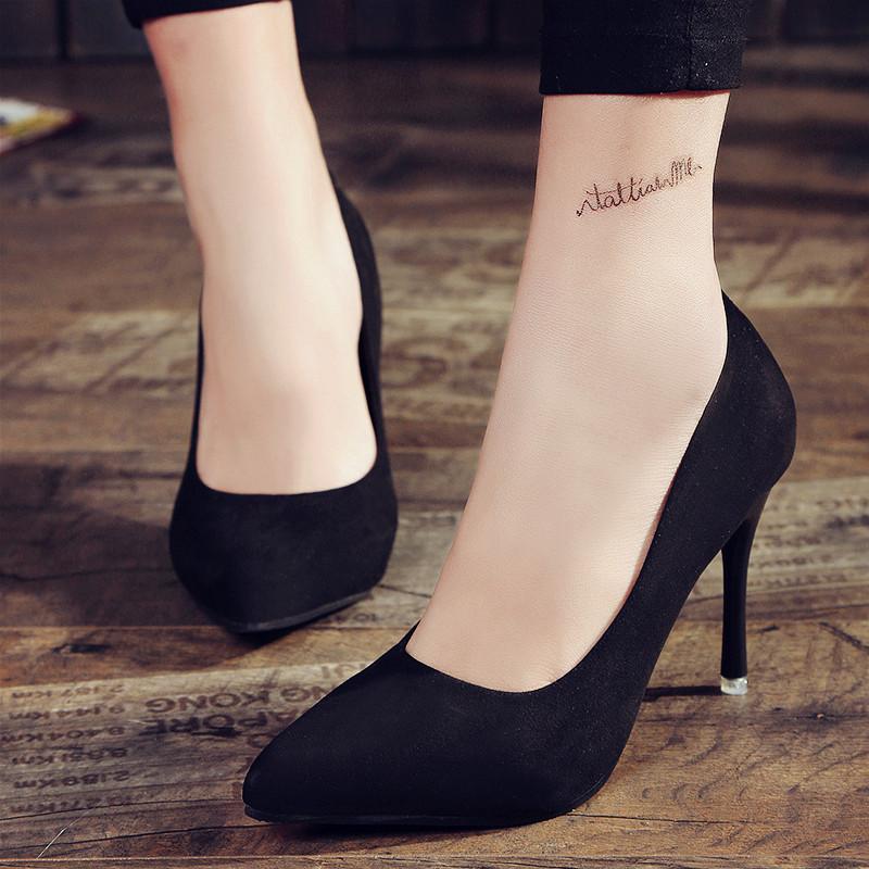 黑色高跟鞋 16春秋细跟性感夜店女单鞋婚鞋欧美尖头浅口黑色绒面高跟鞋工作鞋_推荐淘宝好看的黑色高跟鞋
