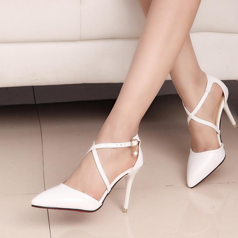 白色高跟凉鞋 2016裸色交叉绑带高跟鞋尖头细跟单鞋白色婚鞋包头中空性感凉鞋女_推荐淘宝好看的女白色高跟凉鞋