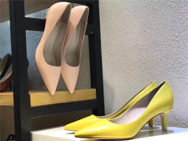 黄色高跟鞋 Yaxuenana夏新款真皮大底高跟鞋优雅简约细跟尖头浅口黄色杏女鞋_推荐淘宝好看的黄色高跟鞋