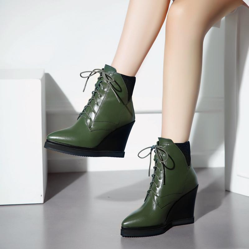 绿色坡跟鞋 秋冬新品牛皮英伦女鞋尖头高跟马丁靴绿色真皮防水台厚底坡跟短靴_推荐淘宝好看的绿色坡跟鞋