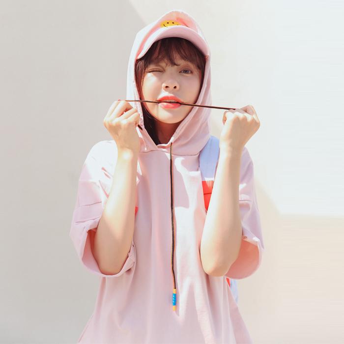 红色卫衣 纯色套头卫衣女 2017夏季薄款韩版学生连帽衫 宽松小清新外套粉色_推荐淘宝好看的红色卫衣