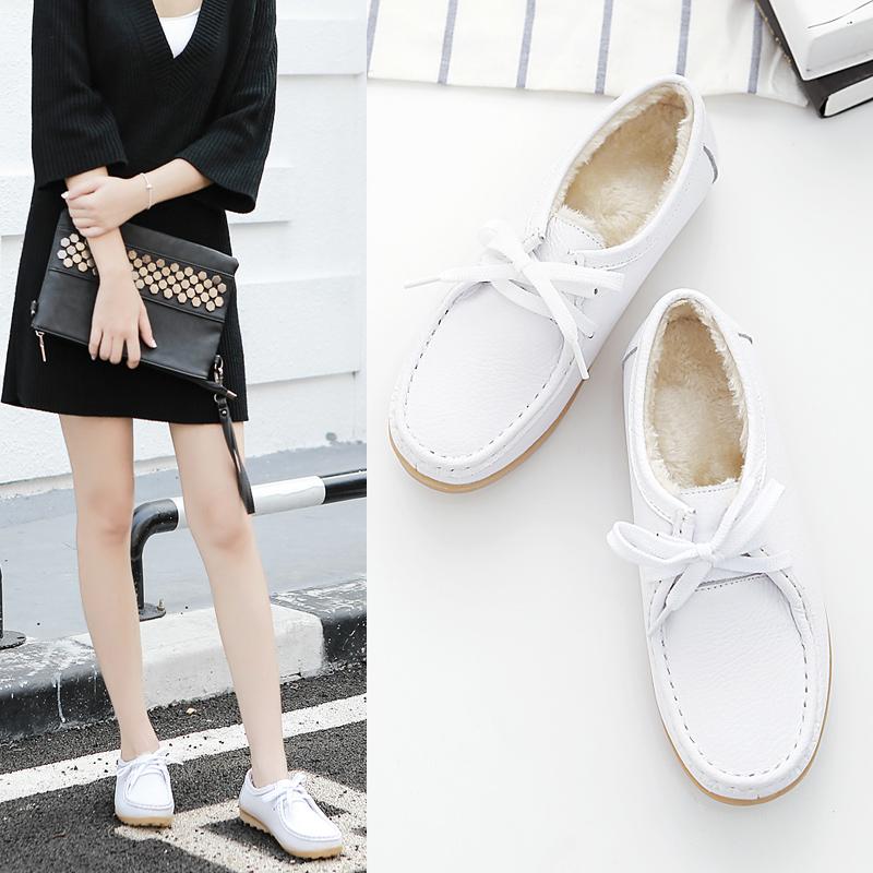 白色坡跟鞋 新款冬季白色护士鞋棉鞋防滑妈妈坡跟牛筋底保暖工作鞋美容院女鞋_推荐淘宝好看的白色坡跟鞋