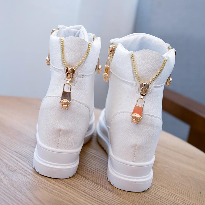 白色高帮鞋 秋冬系带加绒高帮隐形内增高运动鞋女松糕跟休闲坡跟厚底白色女鞋_推荐淘宝好看的白色高帮鞋