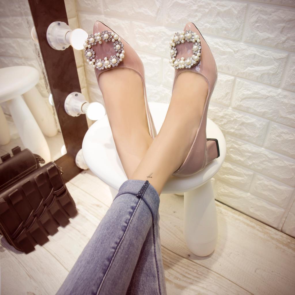 气质小单鞋 2016时尚甜美水钻珍珠方扣尖头高跟鞋漆皮纯色气质粗跟中跟单鞋女_推荐淘宝好看的女气质单鞋