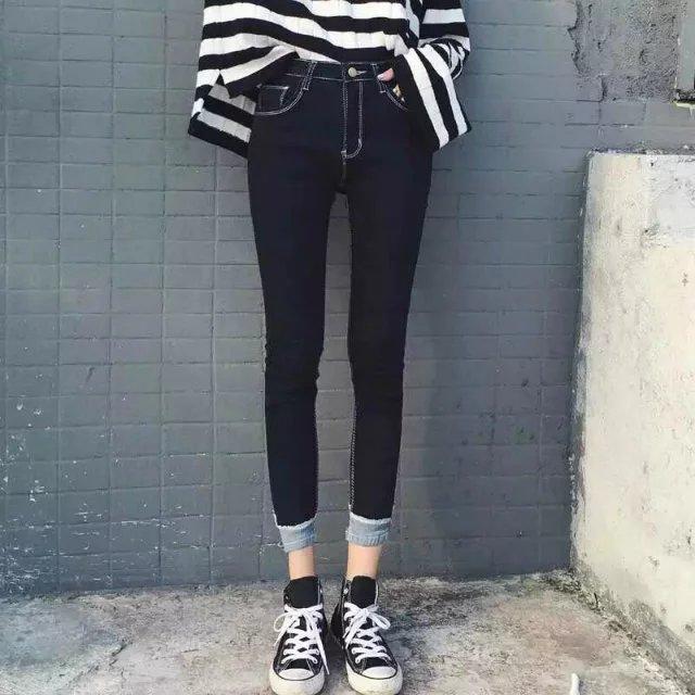 低腰牛仔裤 春夏季女士黑色牛仔裤女低腰紧身显瘦裤弹性中学生小脚铅笔9分裤_推荐淘宝好看的女低腰牛仔裤