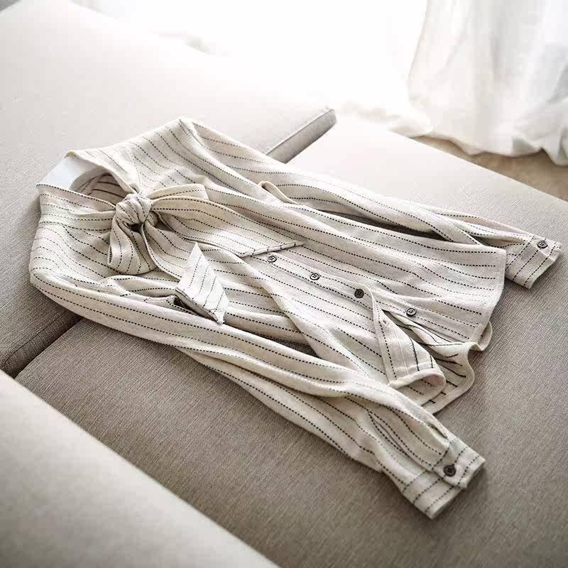 法式衬衫 别致有新意 法式优雅调 蝴蝶结飘带 利落线条感 OL条纹针织衬衫女_推荐淘宝好看的女法 衬衫