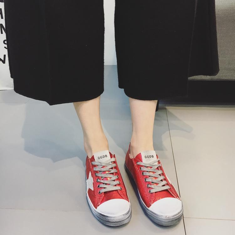 时尚平底鞋 韩版做旧复古休闲运动板鞋女平底软底时尚百搭女鞋2017春季新款潮_推荐淘宝好看的女时尚平底鞋