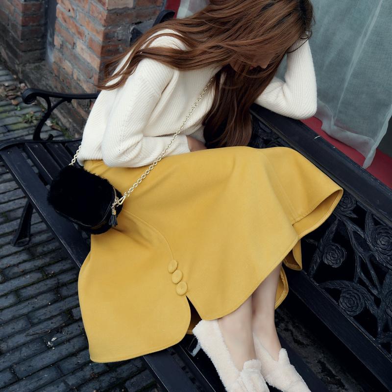 黄色半身裙 【原创设计】秋冬羊毛毛呢半身裙羊绒包臀裙A字裙大摆中长裙子_推荐淘宝好看的黄色半身裙