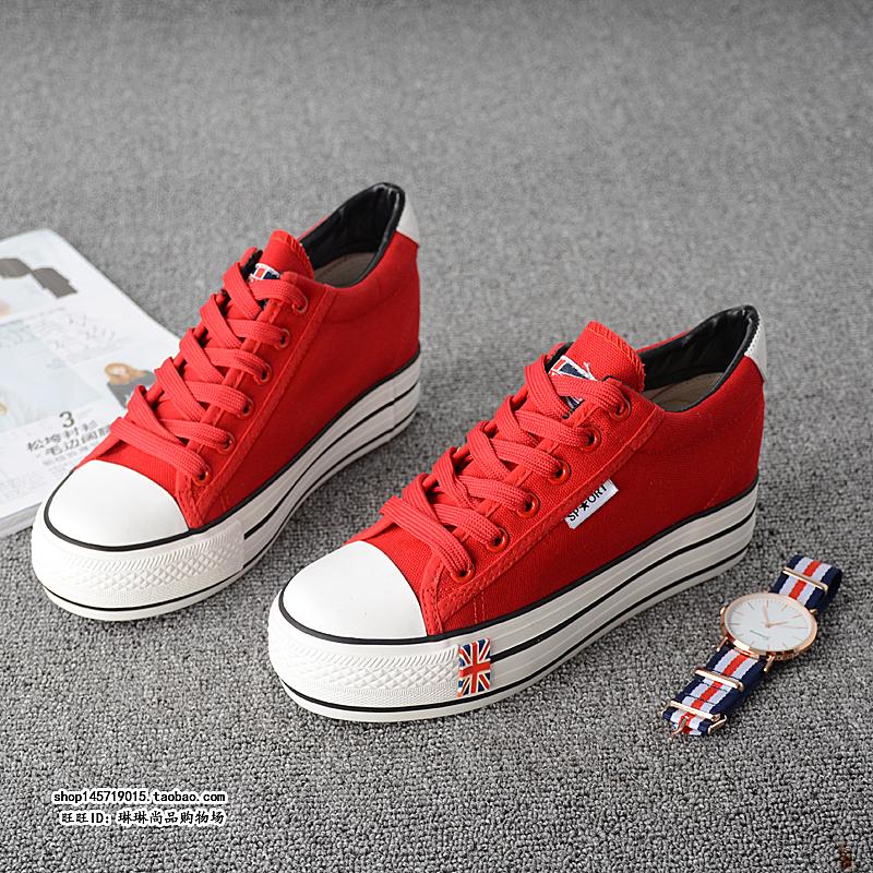 红色帆布鞋 驰球春季新款系带帆布鞋女学生松糕厚底内增高6cm低帮红色单鞋_推荐淘宝好看的红色帆布鞋