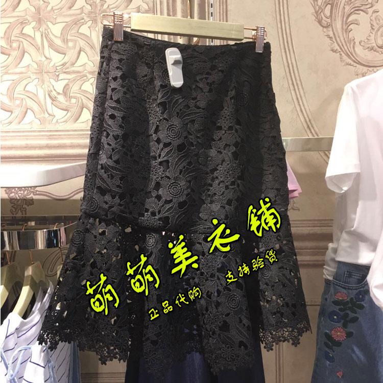 欧时力代购 欧时力新式2017夏新款正品代购蕾丝镂空半身裙1JY2071050-4B-899_推荐淘宝好看的欧时力代购