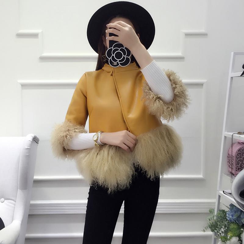 黄色皮衣 2016冬季新款时尚大牌女短款立领外套宽松滩羊毛皮毛一体皮衣女潮_推荐淘宝好看的黄色皮衣