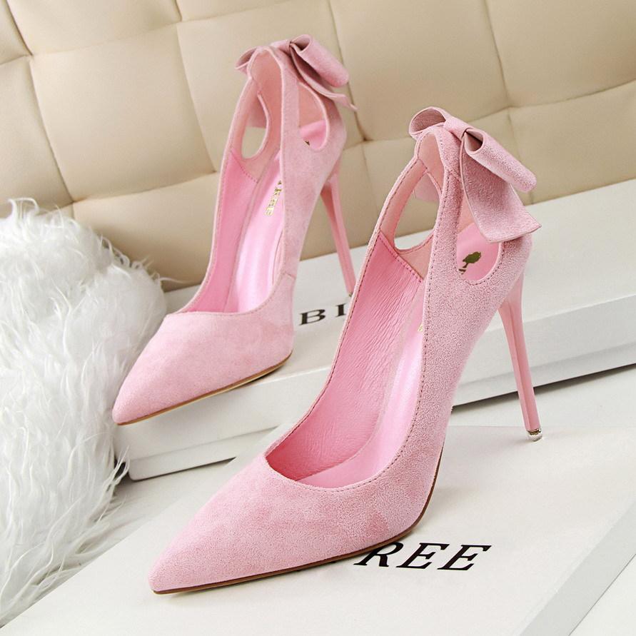 粉红色尖头鞋 磨砂绒面蝴蝶结浅色单鞋女春季新款韩版尖头粉红色高跟鞋细跟婚鞋_推荐淘宝好看的粉红色尖头鞋
