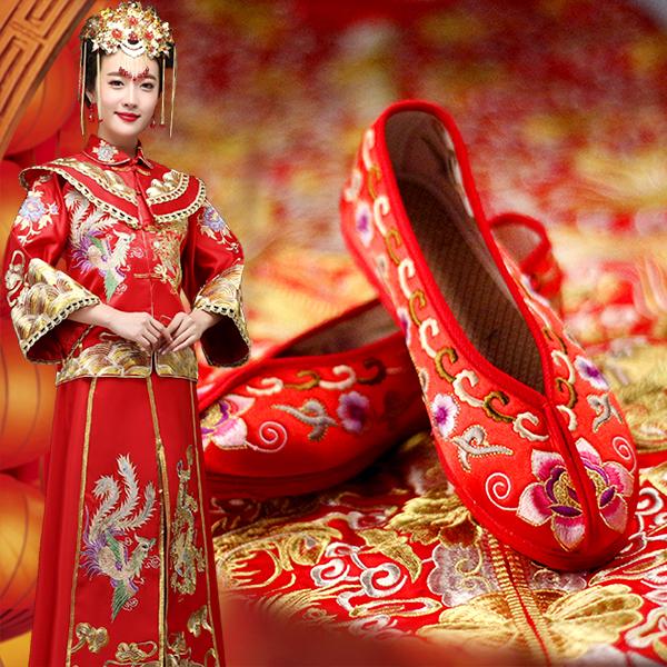 红色平底鞋 老北京布鞋女绣花鞋平底绣花鞋千层底布鞋女红色布鞋秀禾鞋婚鞋_推荐淘宝好看的红色平底鞋