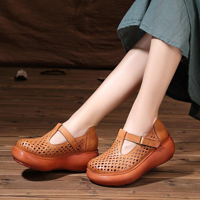 坡跟鱼嘴鞋 头层牛皮休闲鞋女夏季坡跟宽松大头女鞋厚底镂空软皮手工皮鞋圆头_推荐淘宝好看的女坡跟