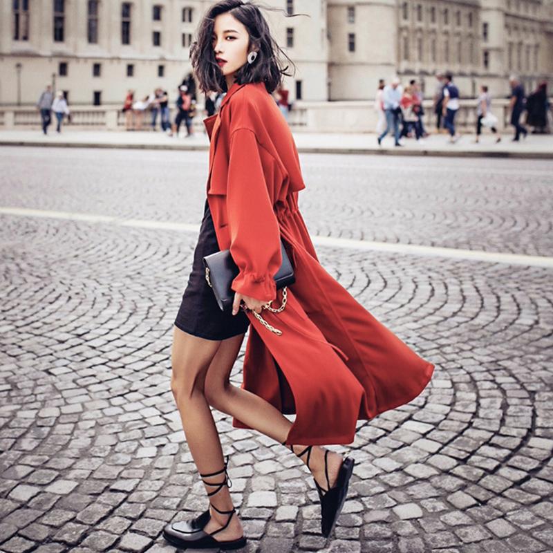 长款风衣 春季女风衣 韩版休闲宽松显瘦中长款女式超长抗皱红色风衣外套潮_推荐淘宝好看的女长款风衣