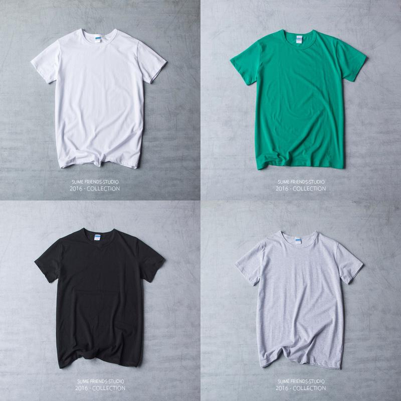 绿色T恤 四季欧美纯棉男士短袖T恤 日系青年圆领修身半袖体恤纯色打底衫潮_推荐淘宝好看的绿色T恤