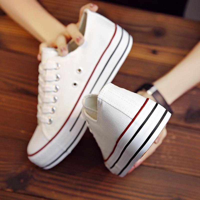 纯色帆布鞋 增高帆布鞋女纯色板鞋2017韩版学生百搭松糕跟休闲鞋厚底布鞋潮_推荐淘宝好看的女纯色帆布鞋