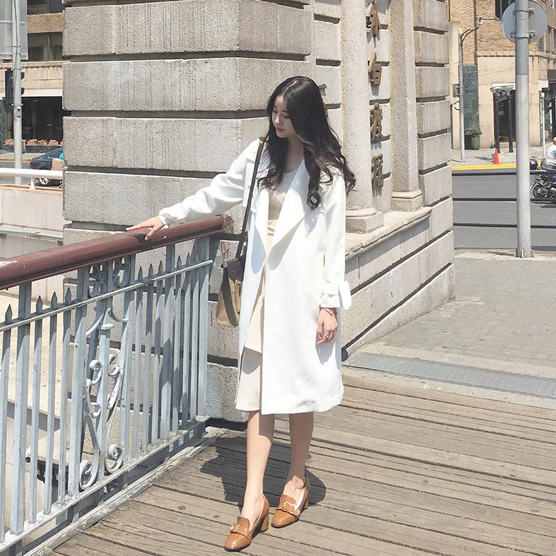 白色风衣 风衣女2016春秋装新款中长款大牌翻领系带收腰过膝长款风衣女外套_推荐淘宝好看的白色风衣