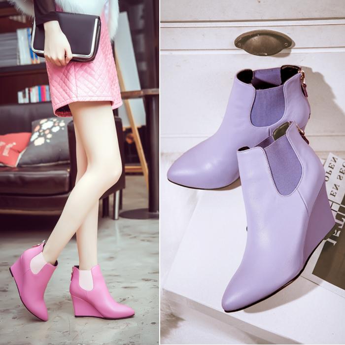 紫色尖头鞋 2016新款秋冬女鞋高跟尖头后拉链靴子马丁靴紫色松紧真皮坡跟短靴_推荐淘宝好看的紫色尖头鞋