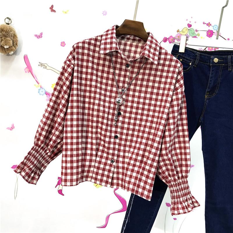 红色格子衬衫 春装新款韩版宽松短款翻领喇叭袖格子长袖衬衫女学生休闲百搭衬衣_推荐淘宝好看的女红色格子衬衫