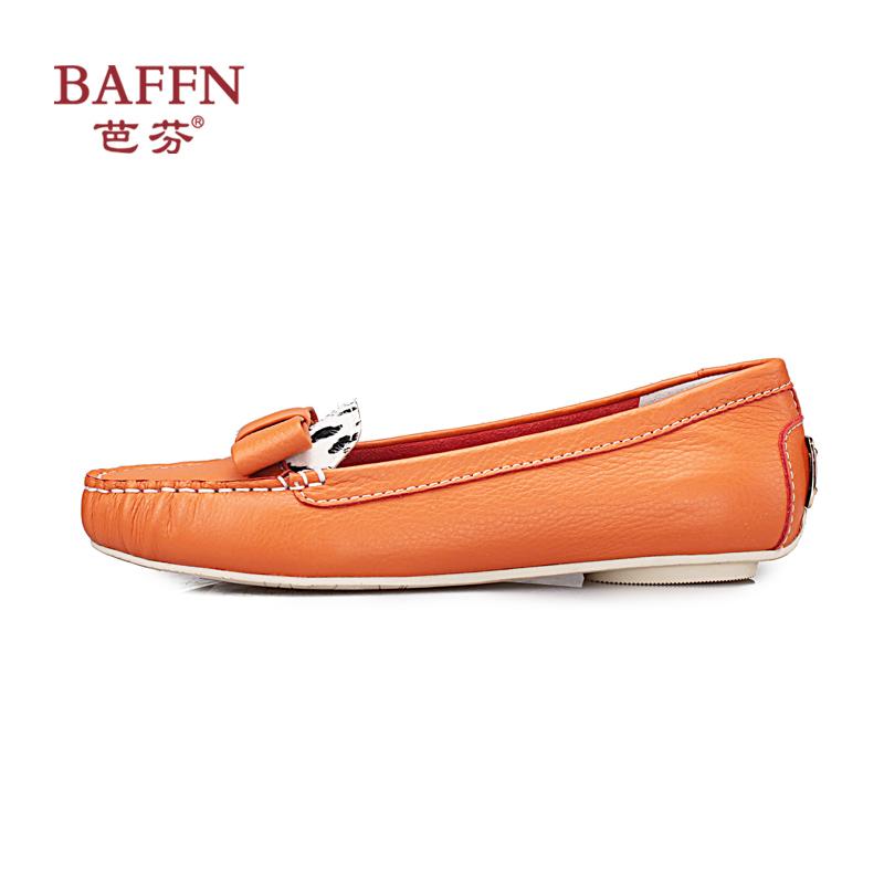 豹纹单鞋 BAFFN芭芬2014年春款真皮纯色圆头女鞋 豹纹低跟日系靓丽单鞋_推荐淘宝好看的豹纹单鞋
