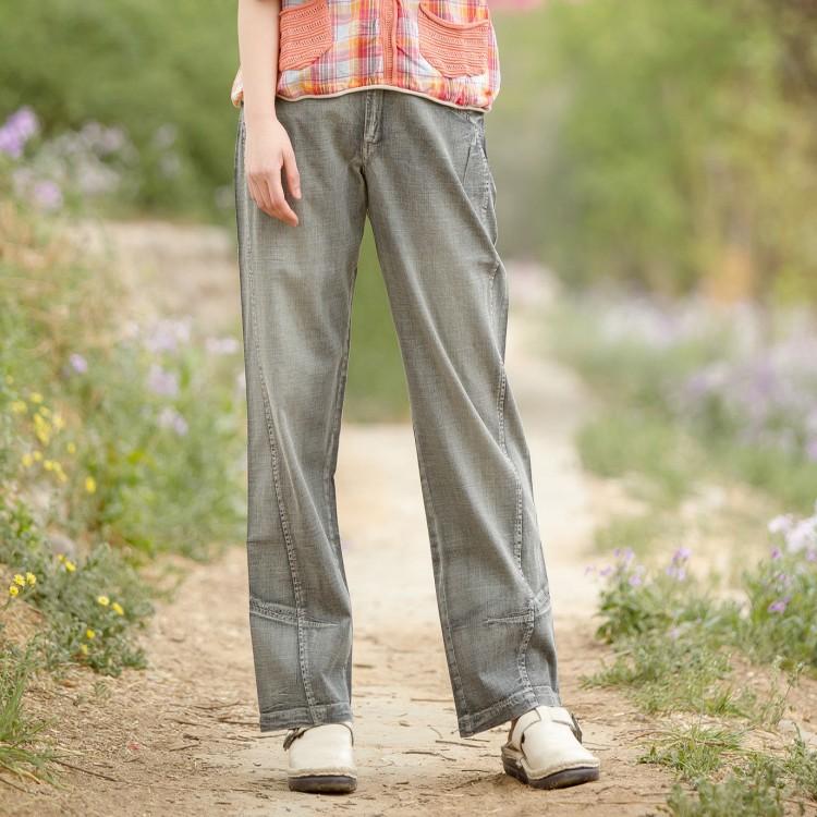 紫色牛仔裤 特价斯琴达芭娜风格 文艺风纯棉直筒裤大码休闲牛仔女裤_推荐淘宝好看的紫色牛仔裤