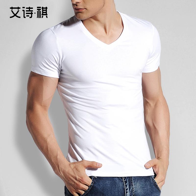 粉红色T恤 艾诗·祺T恤 男夏季 V领男士短袖T恤 修身紧身纯色棉质白色打底衫_推荐淘宝好看的粉红色T恤