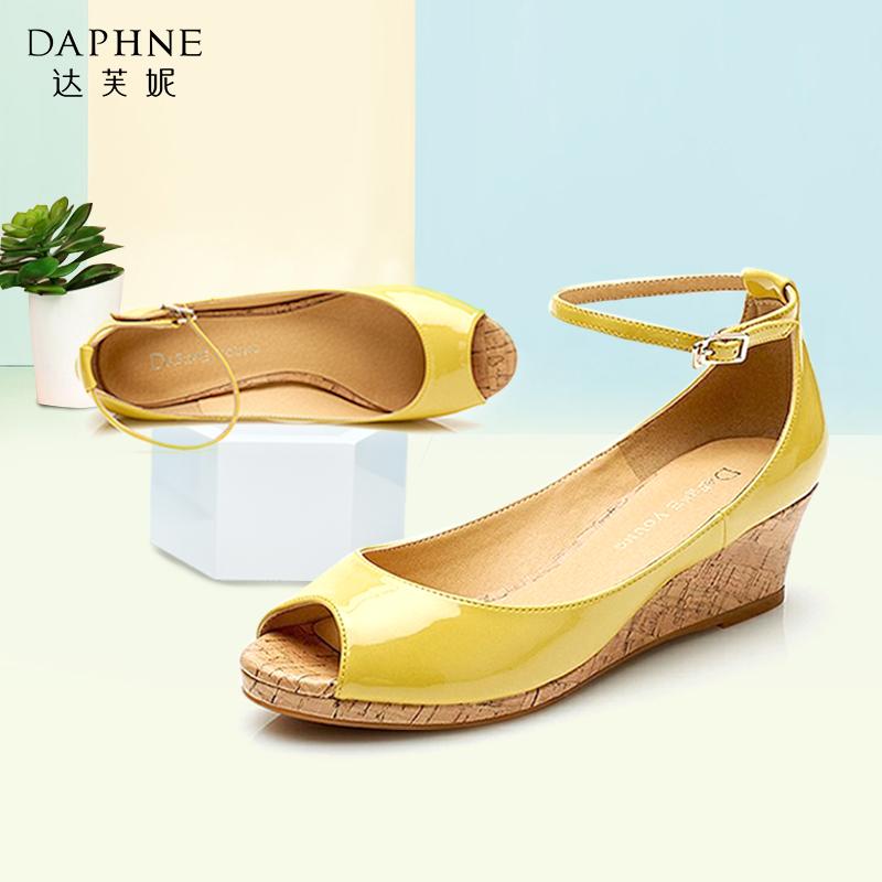 女款鱼嘴鞋 Daphne达芙妮女鞋 夏季坡跟女单鞋 甜美一字式扣带鱼嘴特价单鞋_推荐淘宝好看的女鱼嘴鞋