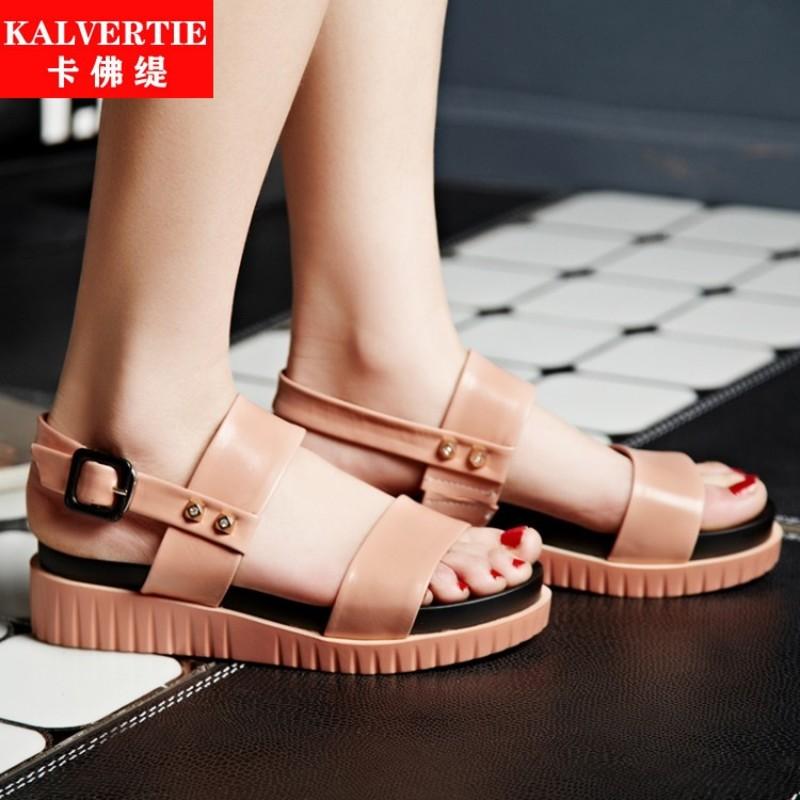 粉红色罗马鞋 卡佛缇女鞋拼色皮带扣粉红色其他聚氨酯休闲罗马鞋正品女士凉鞋_推荐淘宝好看的粉红色罗马鞋