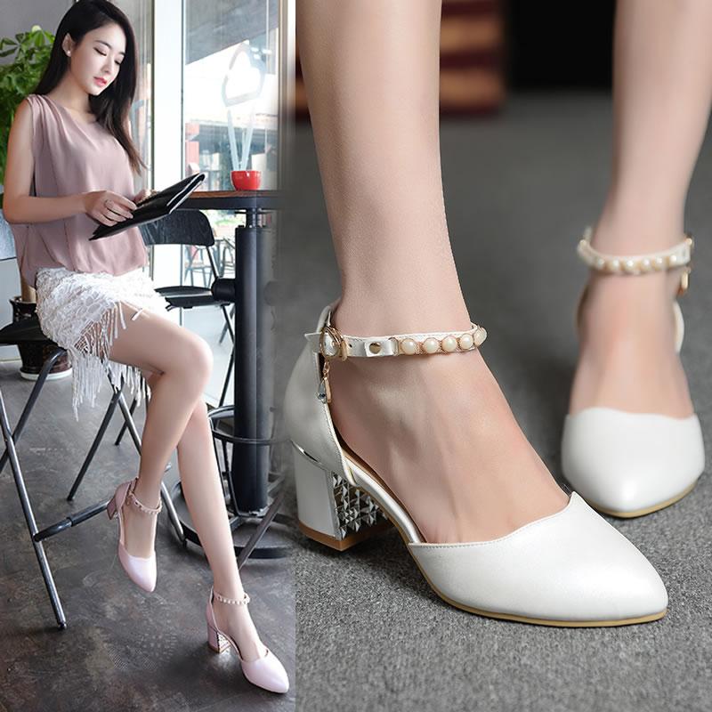 白色高跟凉鞋 2016新款韩版白色女鞋包后跟包头凉鞋女夏粗跟中跟尖头高跟鞋潮秋_推荐淘宝好看的女白色高跟凉鞋