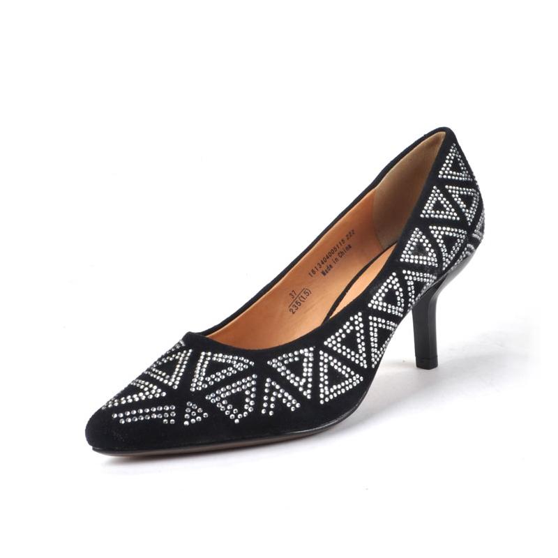 高跟单鞋 Daphne达芙妮爱意女鞋通勤尖头羊皮优雅细高跟女单鞋1613404005_推荐淘宝好看的女高跟单鞋