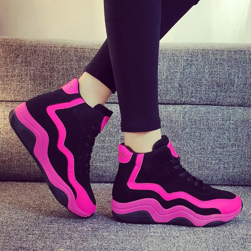 紫色厚底鞋 春秋拼色学生女运动鞋 厚底增高潮女板鞋 个性女孩紫色松糕休闲鞋_推荐淘宝好看的紫色厚底鞋