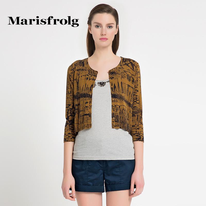 玛丝菲尔女装 Marisfrolg玛丝菲尔 时尚复古印花针织衫 专柜正品夏季新女装_推荐淘宝好看的玛丝菲尔