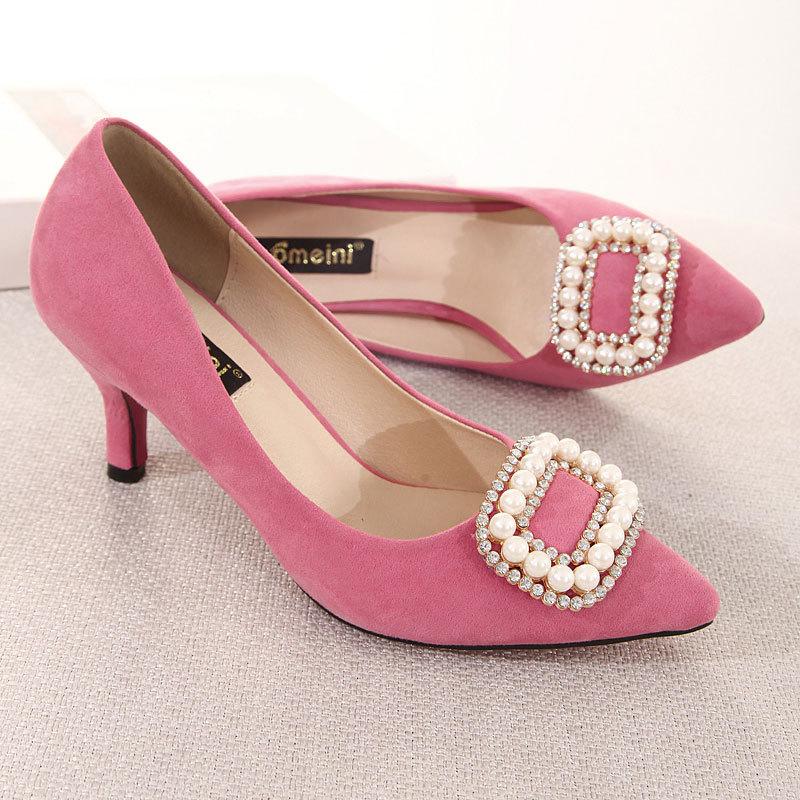 紫色高跟鞋 夏季尖头绒面百搭中空黑色单鞋女 浅口紫色细跟串珠粉红色高跟鞋_推荐淘宝好看的紫色高跟鞋