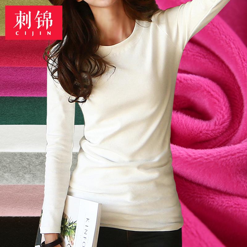 纯色长袖t恤 2016秋冬新款韩版纯色修身百搭长袖T恤加绒加厚女士打底衫上衣 棉_推荐淘宝好看的女纯色长袖t恤