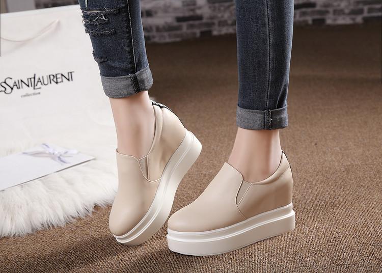 粉红色松糕鞋 女鞋厚底松糕鞋高跟乐福鞋小码31-33大码40-43粉红色白色杏色 HX_推荐淘宝好看的粉红色松糕鞋