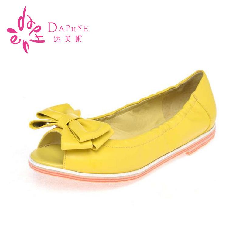 达芙妮单鞋 Daphne达芙妮正品 头层牛皮鱼嘴平底品牌韩版女单鞋 1014102116_推荐淘宝好看的女达芙妮单鞋
